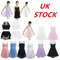 Girls Kids Camisole Ballet Dress Ballerina Empire Waist Leotard Skater Dancewear