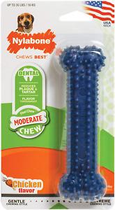 Nylabone Moderate Chew Dental Chew Toy, Chicken Flavor Medium/Wolf up to 35lbs