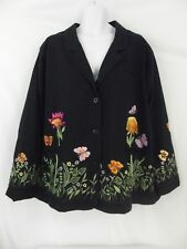QUACKER FACTORY *Womens Black Lined Blazer Embroidered Flowers Butterflies * 3X
