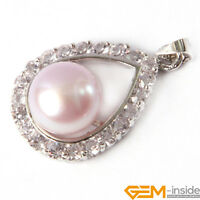 10-11mm Freshwater Pearl Beads GP Frame With Rhinestone Jewelry Pendant 17x27mm