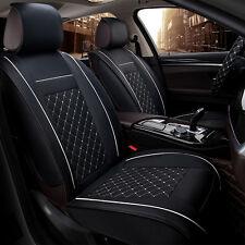 Car Seat Cover PU Leather 5Seats Auto Front+Rear Cushion Size M W/Pillow 4Season
