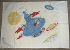 RARE VINTAGE  Spaceship Astronauts Montgomery Ward Twin Flat Sheet $ Pillowcase