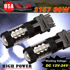 2x Cool White 3157 High Power 80W Tail Brake Stop Backup Reverse LED Light Bulbs
