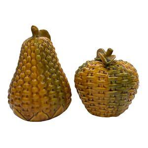 Majolica Ceramic Basketweave Apple and Pear