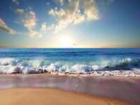 Photograph Seascape Beach Sand Ocean Surf Waves Picture Canvas Art Print