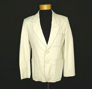 Vintage Mens Cream White Silk Dinner Jacket Switzerland Sz L
