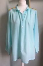 FABINDIA Aqua Embroidered Cotton Shirt Cover Up Size XL 16-18 Long Length VGC