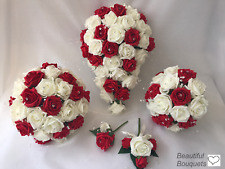 RED Wedding Flowers Ivory Rose Bouquet, Bride, Bridesmaid, Flower-Girl Wand
