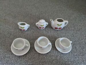 Children's Toy China Tea Set With Cherry Pattern - Small