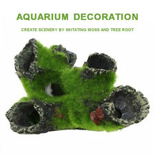Aquarium Rock Cave with Green Grass for Fish Shrimp Hiding Ornament Home Office