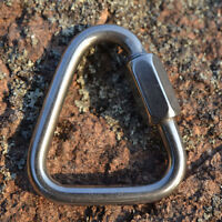 Triangle Shape Mountain Rock Climbing Stainless Steel Screw Lock Carabiner