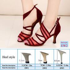 Womens Modern Tango Latin Ballroom Salsa Dance Shoes Ladies Lace Heels All Size