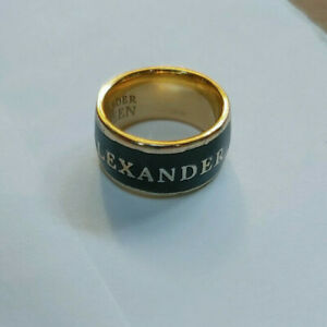 Alexander McQueen Black and Gold Enamel Signature Ring