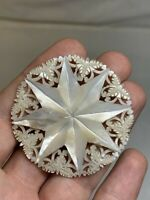 "Vintage Hand Carved Filigree Mother Of Pearl Shell Pin Brooch Star 2"" Round"