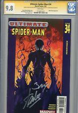 Ultimate Spider-Man 34 CGC 9.8 SS X3 Stan Lee Brian Bendis Bagley 2nd Venom WP