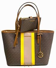 Michael Kors Jet Set Travel Medium Carryall Tote Bag + Double Zip Wallet Brown