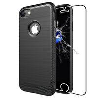 ebestStar VERRE Trempé +Housse Silicone Coque Gel Carbone iPhone X 6 6S 7 8 Plus