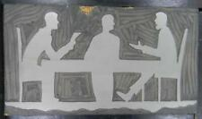 Vintage Letterpress Print Cut   Men at Work  Conference  Meeting   MB83  1#
