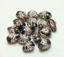 15 fantaisie Indiennes Lampwork Perles en verre poire goutte 12 x 6 mm bleu foncé (BBB507)