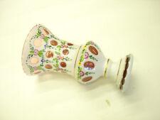 Old Vintage Bohemian Czech Republic White Enamel overlay Big Vase Cranberry A1