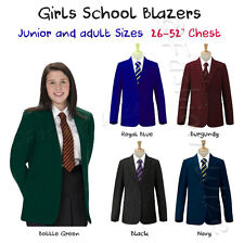 (FREE P&P) Girls School Blazer Jacket Uniform Black Bottle Green Maroon Navy