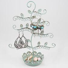 Elegante Azul pendiente Joyas Pantalla titular soporte de árbol Metal Collar Anillos