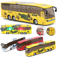 1:50 Scale Pull Back Music Bus Alloy Diecast Model LED Light Vehicle Toys Gifts