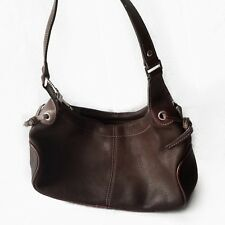 FOSSIL Genuine Leather Medium Shoulder Baguette Bag Purse Barrel Black Brown new