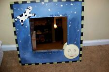 LION HEART DESIGNS NURSERY RHYMES BABY's FRAMED MIRROR Mother Goose Cow Moon