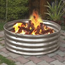 "NEW 36"" Portable Galvanized Steel Fire Ring! Pit Metal Backyard Camping Cookout"