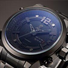 SHARK LED Day Date Analog Army Steel Band Men's Sport Quartz Wrist Watch Black