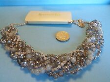 sc31--QUIRKY UNUSUAL MULTI-ROW PLAITED  SMOKEY GREY GLASS BEADS NECKLACE