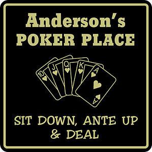 Personalized Poker Game Room Bar Beer Cards Holdem Gift Sign #1 Custom USA Made
