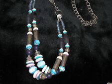 Vintage Carved Turquoise & Light & Dark Blue w Brass Bead Double strand Tribal