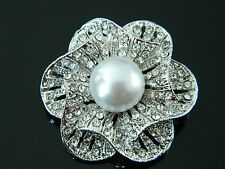Stylish & Elegant Rhinestone Silver Base and White Middle Pearl Brooch BR21
