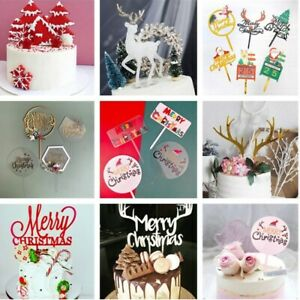 Merry Christmas Cake Topper DIY Xmas Tree Deer Baking Birthday Party Cake Decor