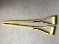 Two WOODEN REPLACEMENT GARDEN TOOL FORK SPADE Y HANDLE HANDLES