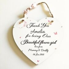 Thank you Flower Girl Personalised Wooden Heart Plaque Keepsake Sign Gift W22