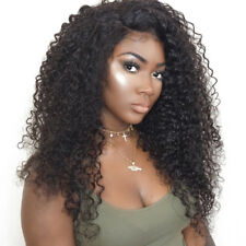 "26"" Brazilian Lace Front Women Hair Wig Glueless Curly Full Wigs&baby hair Black"