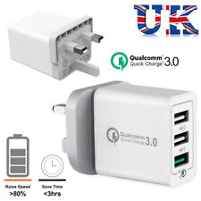 3Port Fast Qualcomm Quick Charge QC 3.0 USB Hub Wall Charger Adapter UK Plug