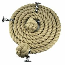 36mm Natural Jute Bannister Stair Rope x 7 FT c/w 3 Satin Fittings + 3 Mounts