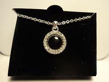 "Avon ""Celinda"" Reversible Pendant Necklace (Black) Silver tone New 2011"