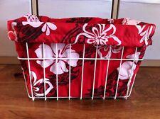 Bicycle Basket Liner Red Hawaii Flowers Cruiser Bikes