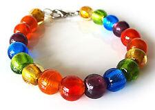 "A Sign ""Sparkling Rainbow"" Armband Regenbogen Murano-Art Glas Perlen Verstellbar"