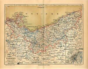 1889 GERMANY POMERANIA now POLAND POMORZE SZCZECIN Antique Map dated