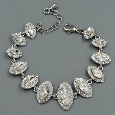 Hot Rhodium Plated Clear Crystal Rhinestone Bracelet 08733 Fashion Jewelry