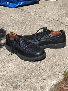 Mens Dr. Comfort Stallion Pebble Black Leather Lace Up Casual Shoes Size 10.5