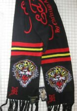 ED HARDY black knit winter cozy motorcycle scarf Tiger by Christian Audigier NWT