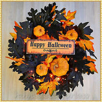 Lighted HAPPY HALLOWEEN Wreath Black Orange Pumpkin Leaves Door Wall Home Decor