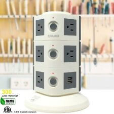 Aduro Surge Power Tower with 11 Outlets & Dual USB Ports Floor Smart Charger